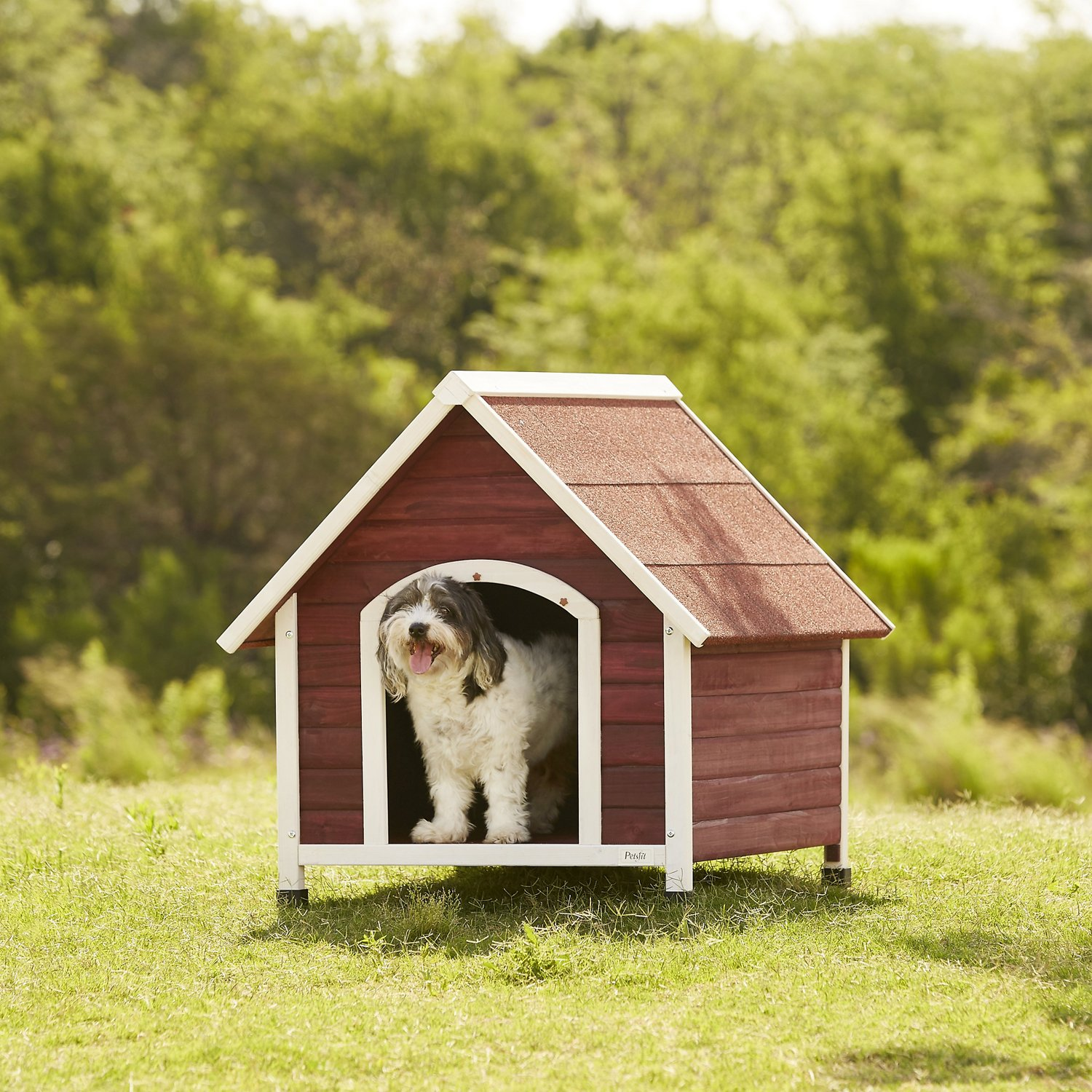Dog House Petsfit Wooden Hinged Roof Dog House Gray Large