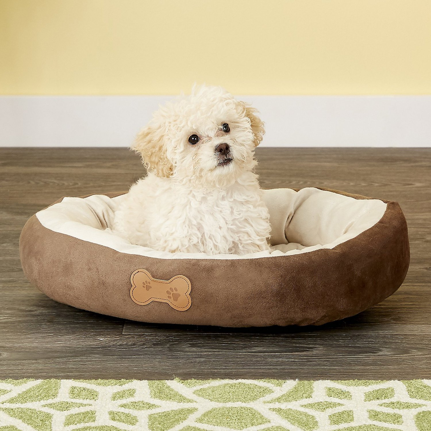 Dog Beds Pet Aspen Pet Oval Bone Applique Dog Bed Chocolate Brown