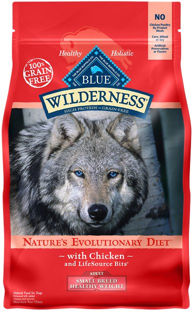 Blue Buffalo Wilderness Healthy Weight Chicken Recipe Adult Small Breed  Grain-Free Dry Dog Food, 45-lb bag