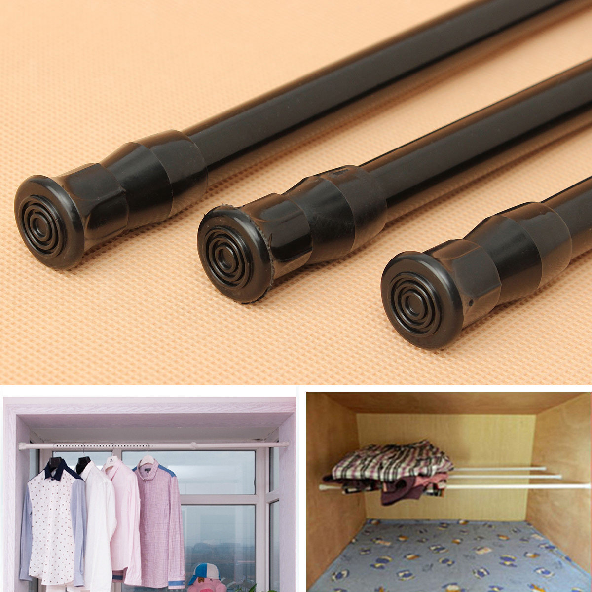 Extendable Shower Curtain Rod Extendable Adjustable Spring Tension Window Curtain Rod Pole Telescopic Pole Shower Curtain Rod