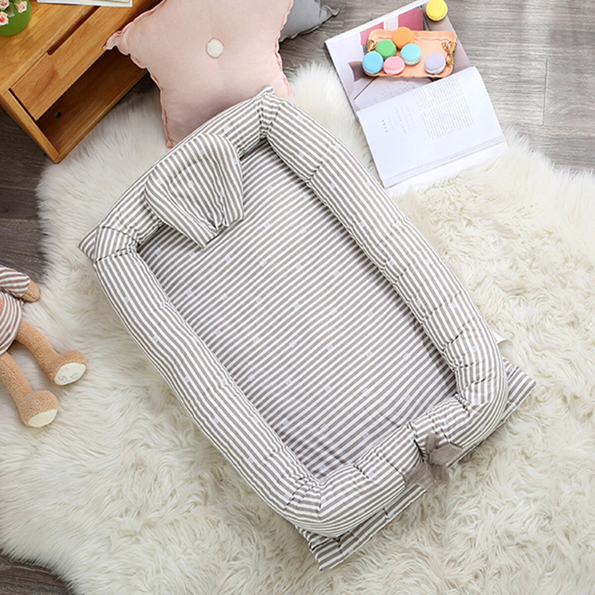 Baby Travel Mattress Portable Baby Nest Newborn Nursery Foldable Travel Bed With Bumper Cot Mattress