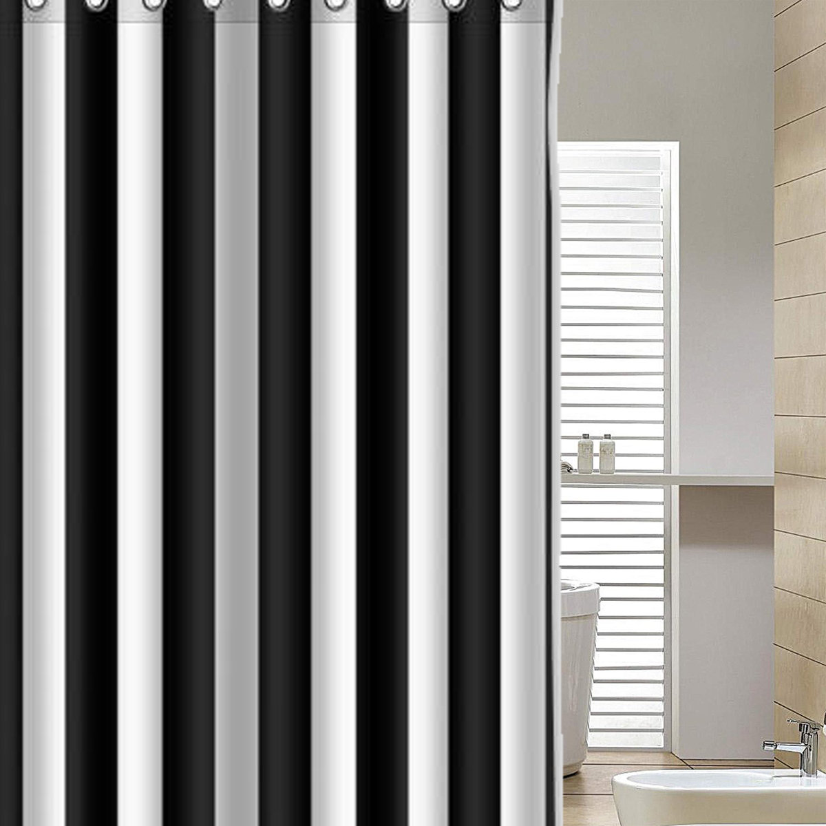 Designer Duschvorhang Black And White Vertical Stripes Waterproof Bathroom Shower Curtain With 12 Hooks