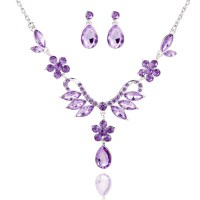 Women Alloy Lavender Purple Jewelry Set with Necklace ...