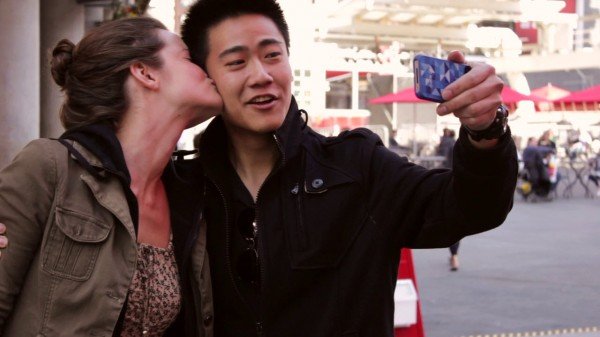 White female with Asian male interracial couple in Danny Ho's short film 'We Are All One'.