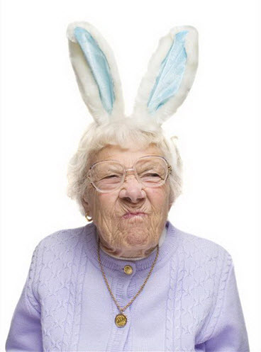 Crazy old lady waering bunny ears.