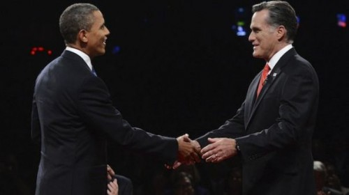 Obama and Romney shake hands