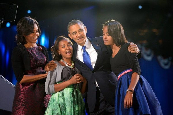 Barack Obama celebrates with his family after being re-elected for a second term as President of the United States of America in 2012.