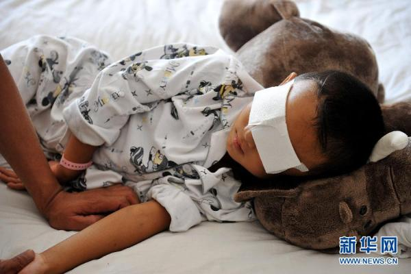 Binbin, the 6-year-old Chinese boy who was kidnapped and found with both eyes dug out.