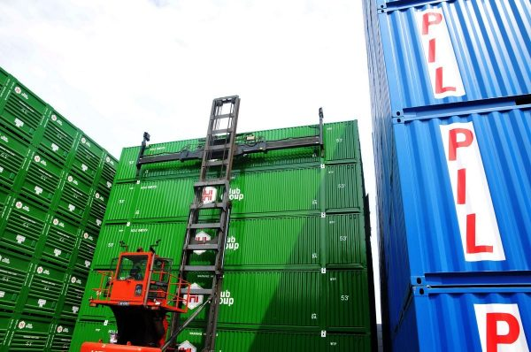 The many cargo containers.