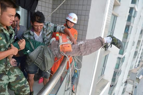 The stuck worker was successfully rescued with the help of firefighters.