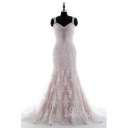 Modern Straps Court Train Tulle Kids Mermaid Wedding Dresses Rose Sleeveless Wedding Dress Straps Tulle Lace Open Mermaid Wedding Dresses Detachable Skirt