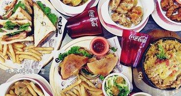 """《台中美食》逢甲夜市旁也有超大美式漢堡耶!""""艾可先生""""餐點份量超大~汽水喝到飽不加價,薯條配自製花生醬好好吃唷!"""