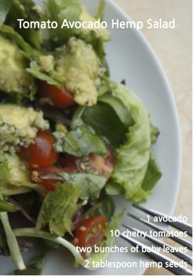 トマトとアボカドとヘンプシードのサラダ