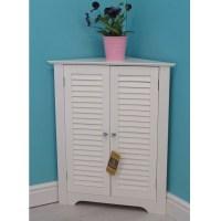 Vintage Bathroom Corner Cabinet Wooden Storage Unit With ...
