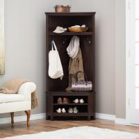 Entryway Storage Bench Corner Hall Tree Furniture Wood ...