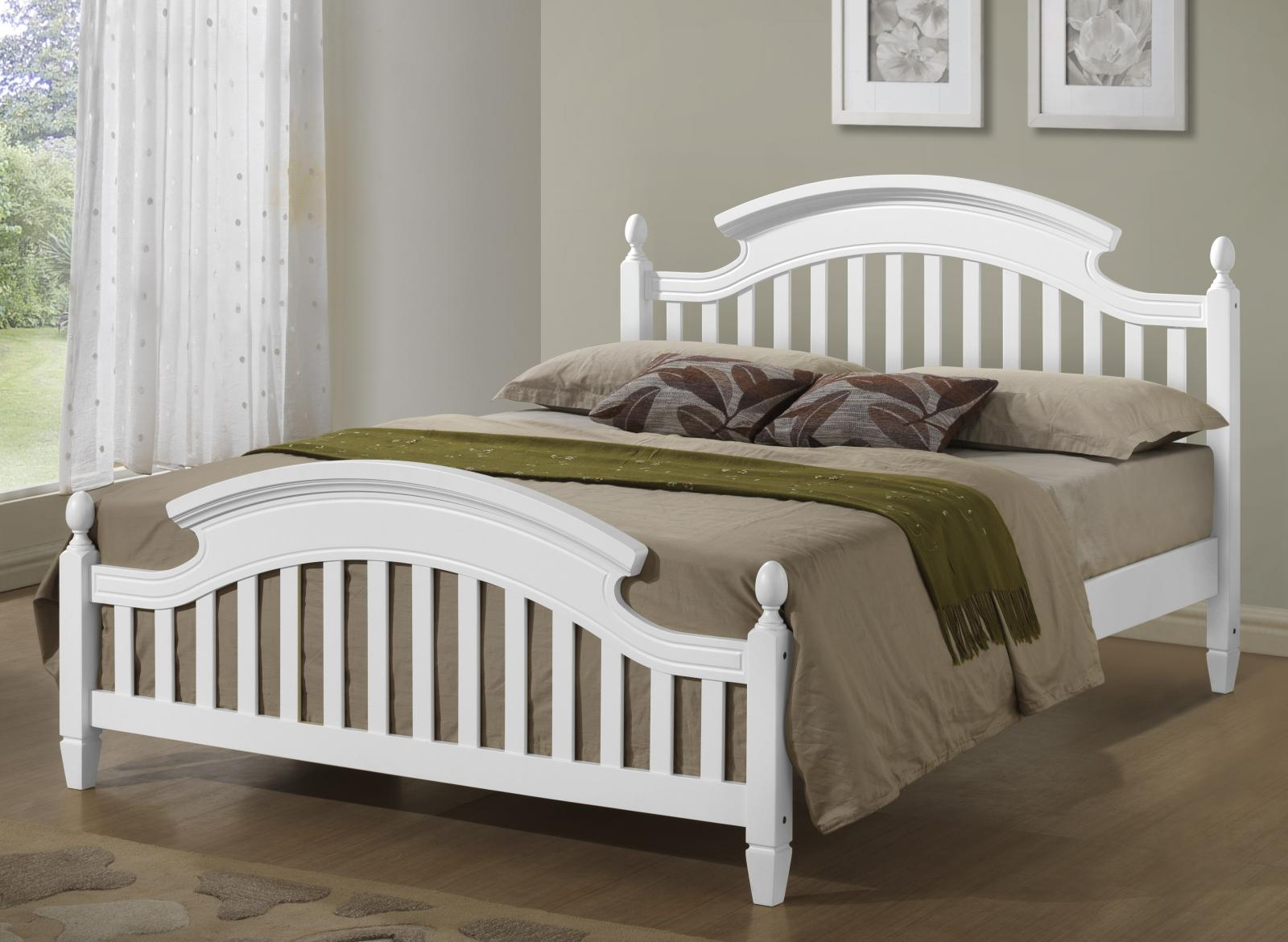 White Double Bed With Mattress White Wooden Arched Headboard Bed Frame In 3ft Single 4ft6