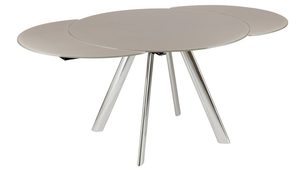 Trendy Extending Round Glass Dining Table Black Grey Or