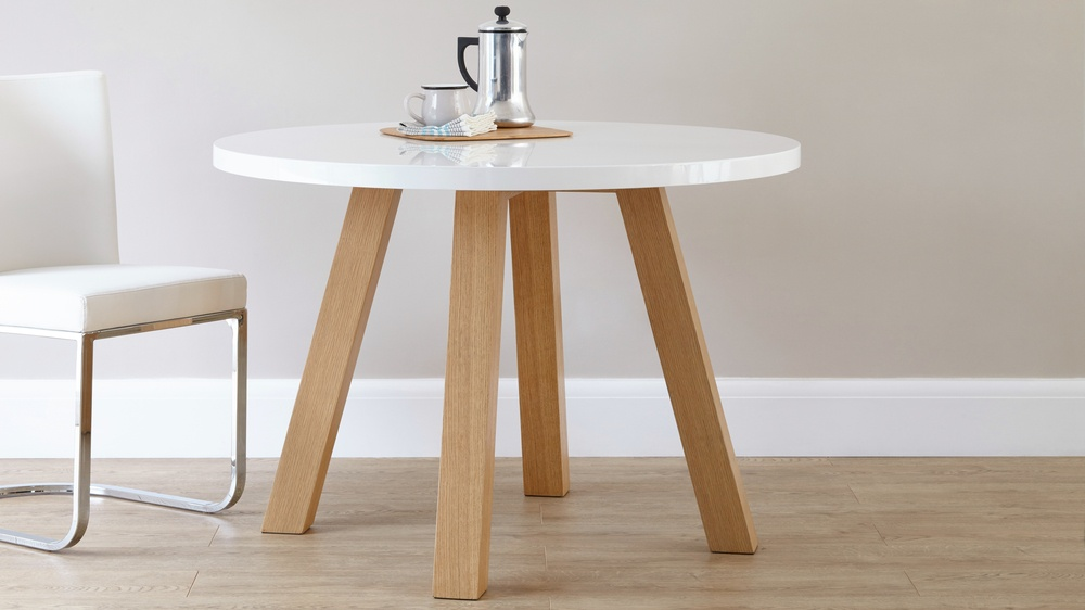 Modern Round 4 Seater Dining Table White Gloss Uk
