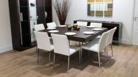 Large Square Dark Wood Dining Table | Glass Legs | 6-8 ...