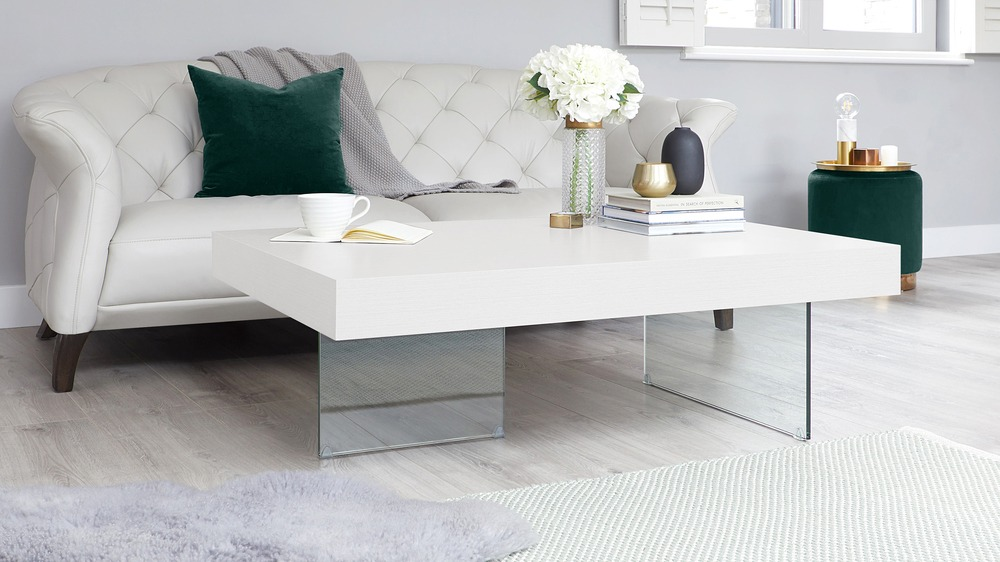 Tempered Glass Couchtisch Large Modern White Oak Coffee Table | Funky Tempered Clear