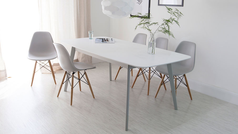 Aver Grey White Extending Dining Table And Eames Chairs