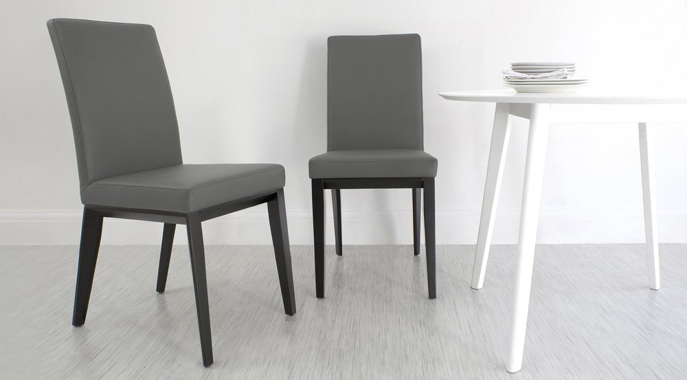 Grey Real Leather Dining Chair