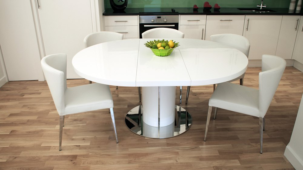 Runder Esszimmertisch Curva White Gloss Oval Extendable Dining Table Set | Danetti
