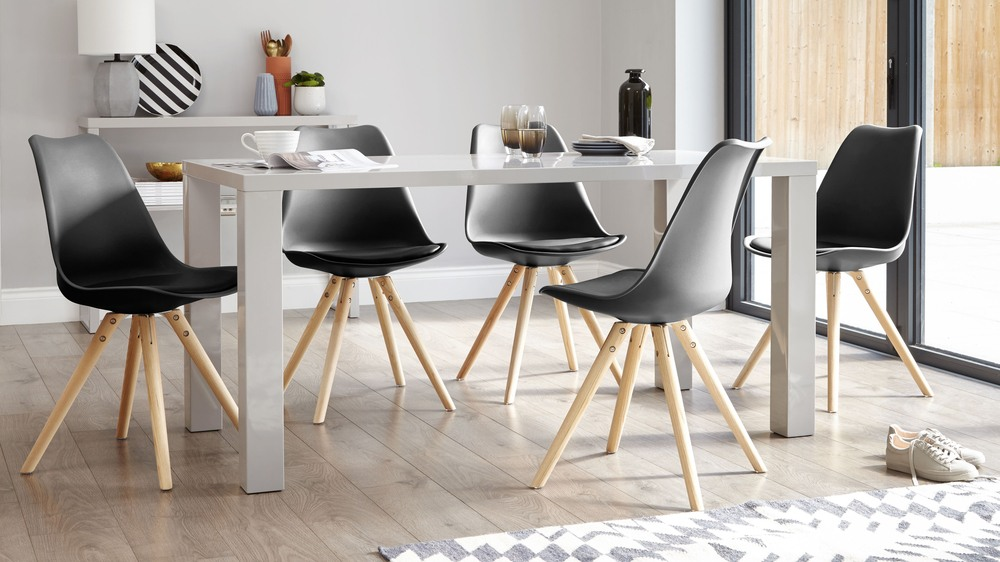 Modern Grey Gloss Dining Table 6 Seater Dining Table Uk