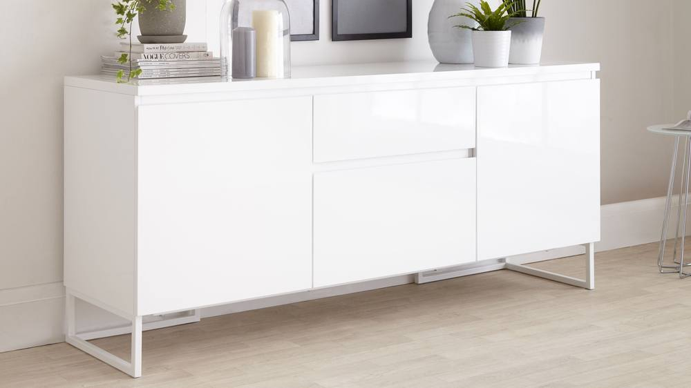 Sideboard Weiß Contemporary White High Gloss Sideboard With Storage | Uk