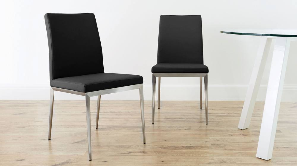 Lucia Brushed Metal Dining Chairs Danetti