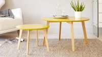 Yellow and Oak Coffee Table | Round Coffee Table | UK