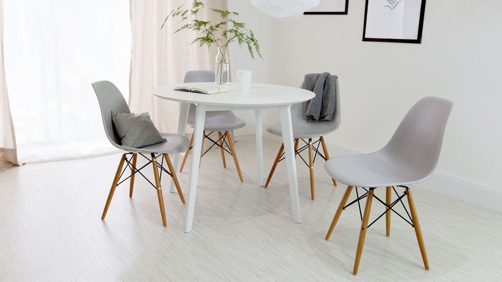 Round White Dining Table And Eames Dining Chair Set Uk