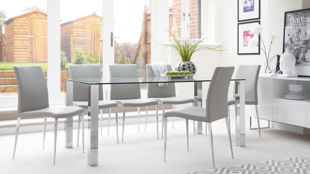 Table Salle A Manger 8/10 Personnes Tiva Glass And Elise Large Modern 6 Seater Dining Table