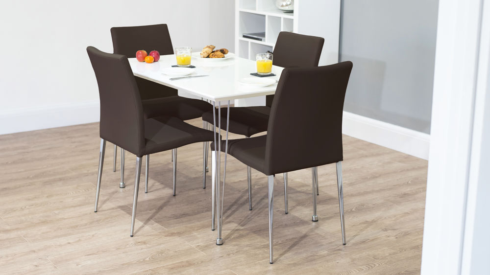 Modern White Gloss 4 Seater Dining Set Upholstered