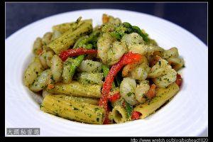 [西餐]麵食類 蝦仁青醬水管麵