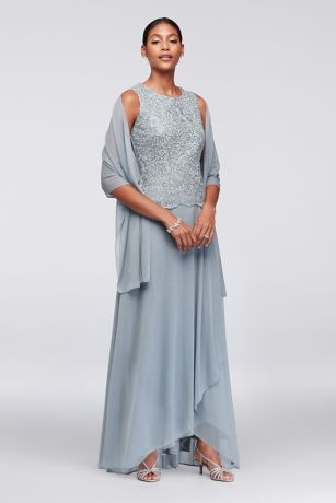 Scalloped Lace and Mesh Dress with Shawl