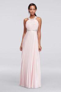 Beaded Strappy Back Halter Prom Dress with Pleats | David ...