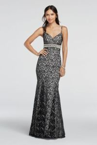 Spaghetti Strap Lace Prom Dress with Beaded Waist - Davids ...