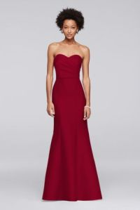 Sweetheart Mikado Strapless Long Bridesmaid Dress | David ...