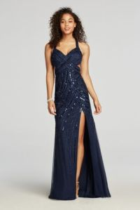 Halter Beaded Prom Dress with Thigh High Slit   David's Bridal