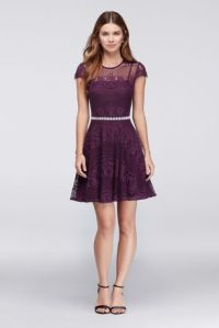 Lace Dress with Beaded Waist and Short Cap Sleeve