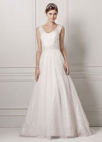 Petite Tank Wedding Dress with Beaded Waist - Davids Bridal