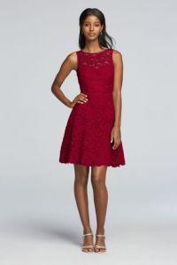 Short Sleeveless All Over Lace Bridesmaid Dress - Davids ...