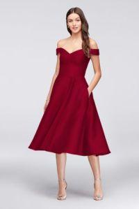 Off-the-Shoulder Tea-Length Bridesmaid Dress | David's Bridal
