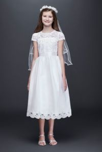 Illusion Flower Girl Dress with Appliqued Skirt | David's ...