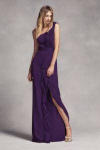 Long One-Shoulder Bridesmaid Dress with Ruffles | David's ...