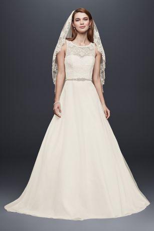Illusion Lace Tank Wedding Dress with Tulle Skirt | David ...
