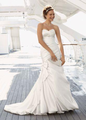 David's Bridal SAMPLE: Satin Mermaid Wedding Dress with ...