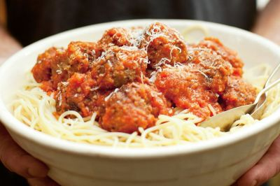 Spaghetti and meatballs with slow-roasted tomato and red wine sauce - Recipes - delicious.com.au