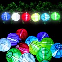 24 LED Lichterkette Lampion Garten Stofflaterne Lichter ...